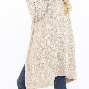 Sweaters - Popcorn Knit Longline Cardigan with Pockets LAST 2